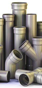 tubos de PVC e plástico